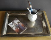 Vintage Silver Rectangle Tray - Large Silverplate Platter or Serving Tray