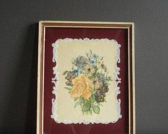 Sweet Back-Painted Glass Art - Vintage Frame with Old Floral Illustration (print)