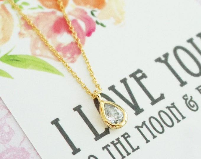 Simple Petite Gold Cubic Zirconia Teardrop Necklace / Minimalistic Necklace - Gold Leaf Dainty Everyday Jewelry Gold Wing Necklace Jewelry