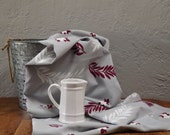 "Vintage America's Pride Tablecloth Burgundy Grey White 46"" x 55"""