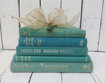 Green Books, Vintage Books, Old Books, Decor Books, Antique Books, Home Office Decor, Instant Library, Shabby Cottage Chic, Green Decor