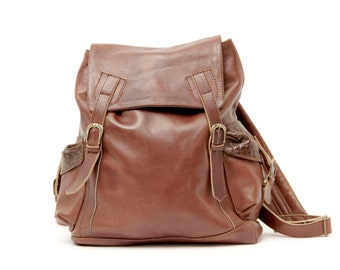 Leather Backpack in Brown, big backpack, soft leather backpack,