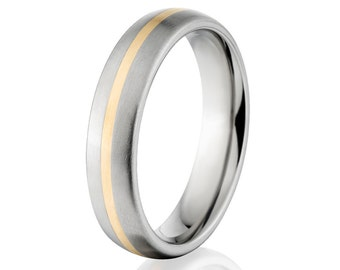 Titanium Ring With 14k Yellow Gold Inlay - New 5mm - , Free Sizing Jewelry 4-17: 5HR11GBR-14K INLAY