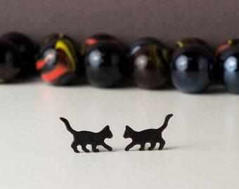 Black Cat Earrings Halloween Studs Black cat studs sterling silver Kids Earrings Teen Jewelry pet jewelry gift Witch earrings teen gift