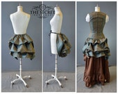 Bustle-tie on bustle-ready to ship-the secret boutique-halloween-renaissance-victorian-bustle skirt-blue-stripe-plus size-time traveler