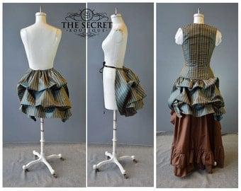 Bustle-tie on bustle-ready to ship-the secret boutique-halloween-renaissance-victorian-bustle skirt-blue-stripe-plus size-time traveler