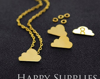 """Nickel Free - High Quality Cloud Golden / Silver Plated Brass 16"""" Long Chain Necklace Set (N17)"""
