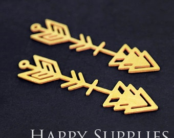 Exclusive - 4pcs Raw Brass Arrow Charm / Pendant, Fit For Necklace, Earring, Brooch (RD198)