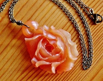 SALE - Agate rose pendant necklace hand carving carved flower stone gemstone floral natural extra very long boho bohemian jewelry romantic
