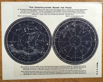 1942 VINTAGE CONSTELLATION MAP lithograph original vintage star chart celestial astronomy print  - northern southern hemisphere