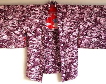 1960s HAORI KIMONO Jacket BOHO Japanese Abstract Pattern