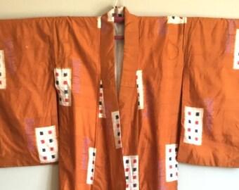 SALE 1960s GEOMETRIC Raw SILK Meisen Kimono