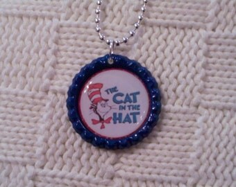 Dr seuss necklace etsy for Cat in the hat jewelry