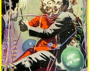 vintage mid century happy new year illustration digital download