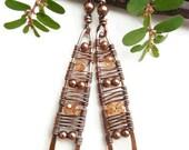 Mystical jewelry copper wire earrings tribal earrings Boho chic earrings copper jewelry gypsy earrings bohemian earrings bohemian jewelry