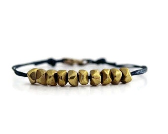 Gold Brass Beads Bracelet, Friendship Bracelet, Black Irish Linen Cord Jewelry,  Everyday Jewelry,  Bohemian Style