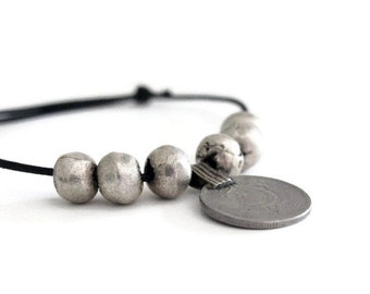 Adjustable Bracelet, Black Leather Bracelet, Kuchi Coin Jewelry, African Beads Bracelet, Silver Bracelet