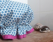 cornflower blue polka dot frilly cotton shower cap - ready to ship