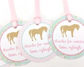 Pink Pony Party Favor Tags, Shabby Chic Pony Party Favor Tags, Pony Favor Tags, Pony Party Decorations - SET OF 12