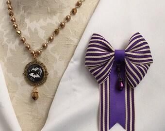 Victoria's Favor Bow Ribbon Pin Purple Stripe