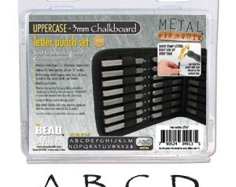 Chalkboard Font 1/8 inch Metal Stamp Letter Set 3mm UPPERCASE Punch 27 Pc with Case Papyrus Font BeadSmith Alphabet SHIPS PRIORITY