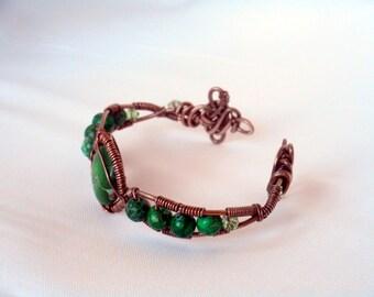 Green Sea Sediment Jasper Wire Wrapped Cuff small to medium wrist