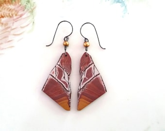 Striking Matched Chohua Jasper Earrings, OOAK Chohua Slice Earrings