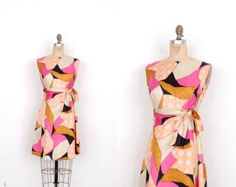 Vintage 1960s Dress / 60s Suzy Perette Printed Silk Dress / Pink and Orange (medium M)