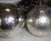 "2 Mercury Glass Kugel Style Christmas Ornaments 4"" round"