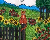 """watercolor painting, Cat artwork, """"Countryside Kitty"""" Original, one of a kind"""