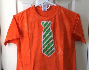 Kids Tie Shirt, Orange Tie Shirt, Green Tie Shirt, Batik Tie Shirt, Kids Necktie Shirt, Boys Tie Shirt, Girls Tie Shirt (Youth M)