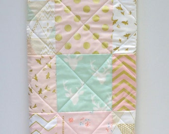 Pink Baby Quilt-Mint-Coral-Modern Baby Girl Quilt-Woodland-Brambleberry-Glitz Gold Metallic Shimmer-Chevron-Arrows Patchwork Baby Bedding