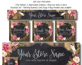 Watercolor Wreath Etsy and Facebook Set, The Aimee Lynn Design, Premade logo, Facebook Set, Business Cards and Matching Branding Graphics