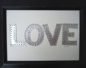 10 Year Anniversary Gift for him - Tin Anniversary - Ten Year Anniversary  - LOVE - Letter Collage -  Mixed Media -   Recycled Aluminum