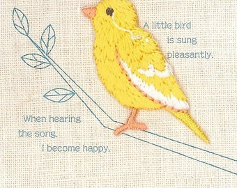 Yellow Canary, Bird Patch, Cute Embroidered Iron On Patch, Japanese Colorful Iron on Applique, Made in Japan, Embroidery Applique, W098