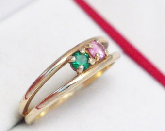 sz 9 10k gold green and pink 2 gemstone stacking ring band Blingschlingers jewelry adoptions