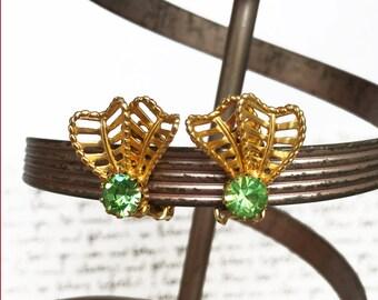Green Rhinestone Earrings, Peridot Earrings, August Birthstone Earrings, Green and Gold Earrings, Green Clip On Earrings with Gold Filigree