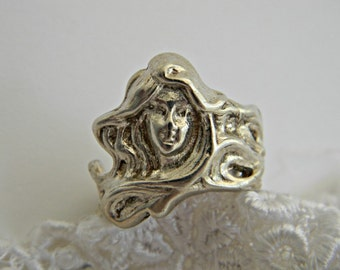 Antique Art Nouveau Lady Maiden Ring, Long Flowing Hair Nymph Ring, Sterling Silver Ladies Large Band Ring Size 7.5