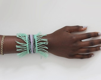 Woven Cuff in Mint Green, Lavender and Black