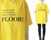 Vintage TEQUILA Tshirt Drinking Tshirt Bright Yellow Tshirt Hipster Ironic Tee Alcohol Funny Graphic Tshirt Short Sleeve Mexican Top (L)