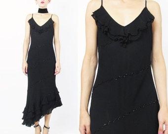 90s Beaded Black Evening Dress Black Maxi Dress Sheer Chiffon Ruffle Hem Dress V Neck Cocktail Asymmetrical Dress Salsa Dancer Dress (XS/S)