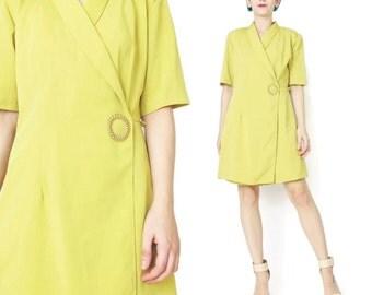 40% OFF SALE Yellow Romper 1980s Romper Wrap Front Shorts Romper Lemon Chartreuse Summer Playsuit Skort Short Sleeve Professional (S) E3056