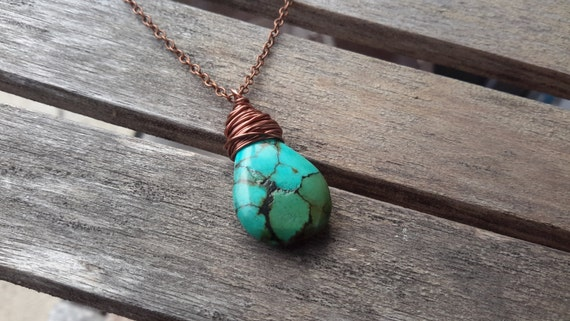 Turquoise Stone Necklace | Wire Wrapped Pendant on Copper Chain