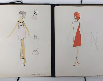 Early 60s Mid Century Fashion Sketches Set of 30