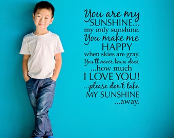 You are my Sunshine Decal - Sunshine Quote Wall Decal - You are my Sunshine Sticker