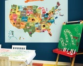 USA Map - Peel and Stick Poster Sticker