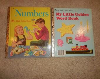 Little Golden Book of NUMBERS 1955 & My Little Golden Word Book 1968
