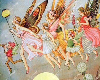 Hand-cut wooden jigsaw puzzle. Fairies rush to carnival. Outhwaite Fairytale gift. Wood, collectible. Bella Puzzles.