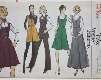 """sz 10  Very Easy Vogue  Vintage 70s Sewing Pattern 8341 Pants, Tunic and Jumper in three lengths. Bust 32.5"""""""