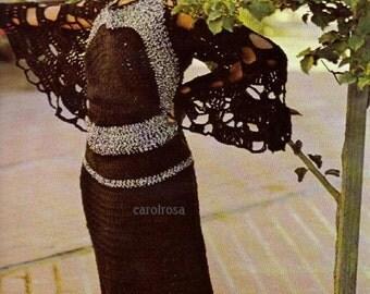 Crochet Pattern - Womens Vintage Retro long Maxi dress - sizes 8 to 16 PDF download THE ORIGINAL
